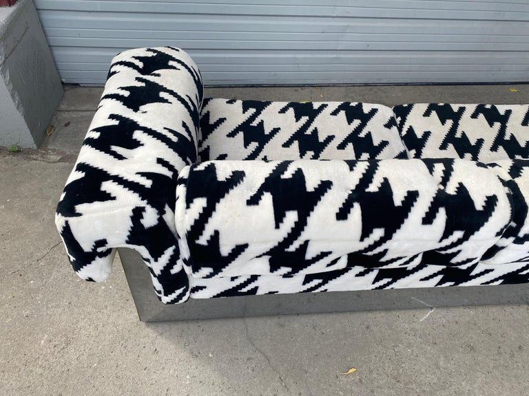Fabric POP Modernist Button Tufted Sofa by Milo Baughman for Thayer Coggin Chrome Wrap For Sale