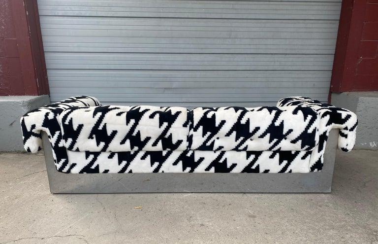POP Modernist Button Tufted Sofa by Milo Baughman for Thayer Coggin Chrome Wrap For Sale 1