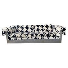 POP Modernist Button Tufted Sofa by Milo Baughman for Thayer Coggin Chrome Wrap