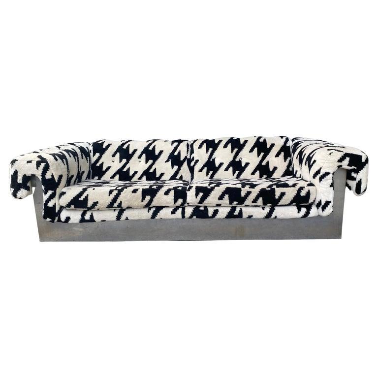 POP Modernist Button Tufted Sofa by Milo Baughman for Thayer Coggin Chrome Wrap For Sale