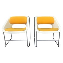 "Pop Modernist Fiberglass and Chrome ""Lotus"" Chairs, Paul Boulva for Artopex"