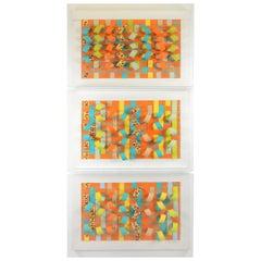 Popart Postmodern Greg Copeland 3-D Woven Paper Assemblage Wall Sculpture Trio