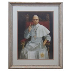 Pope Pius XII Framed Lithograph Print Papal Catholic Benediction Portrait