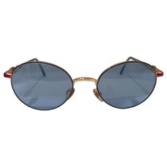 Popeye blue lens gold and red sunglasses