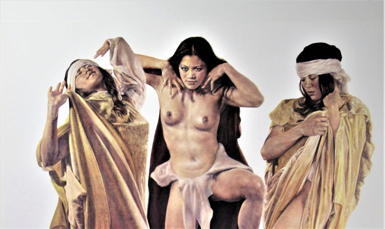 Three Native American Girls - American Realist Print by Popo and Ruby Lee