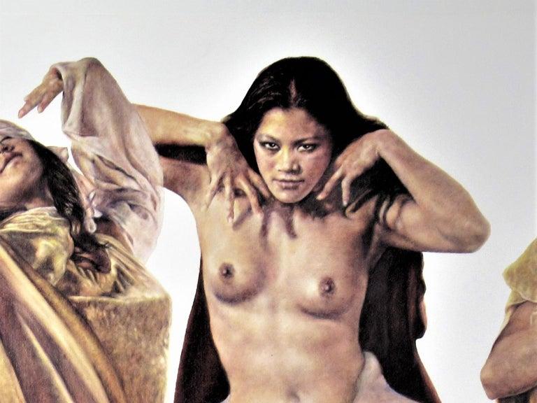 Three Native American Girls - Beige Figurative Print by Popo and Ruby Lee