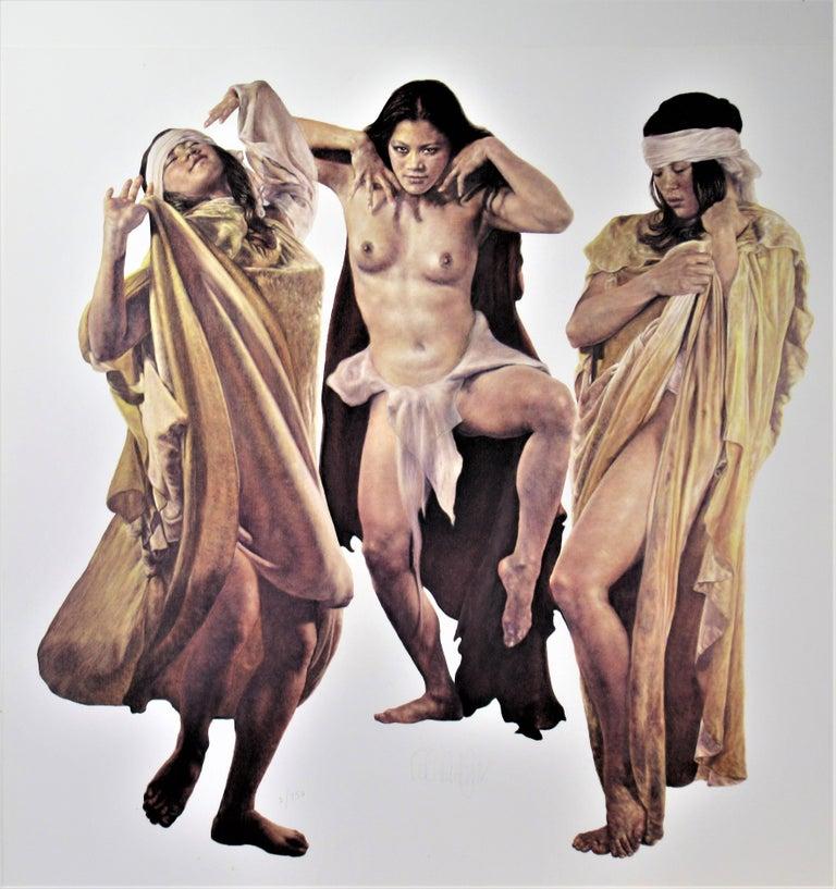 Popo and Ruby Lee Figurative Print - Three Native American Girls
