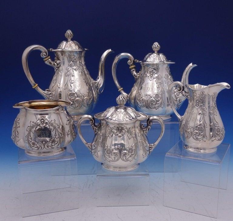 American Poppy by Gorham Silver Plate Tea Set 5pc #0352 Coffee Tea Sugar Creamer For Sale