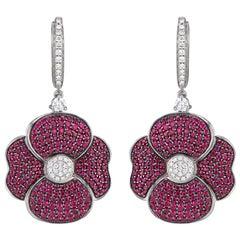 Poppy Ruby and Diamond Earrings