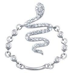 Popular 18 Karat White Gold and Diamond Snake Ring