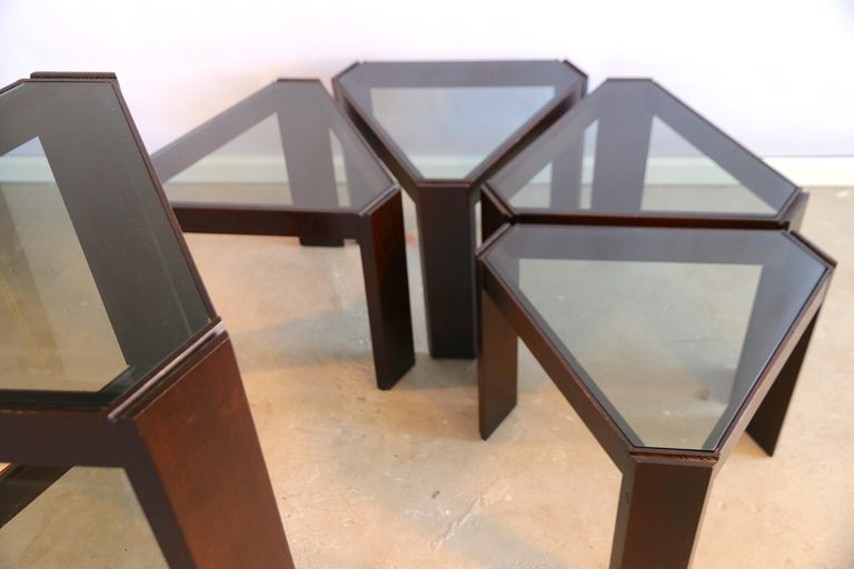 Porada Arredi Stackable Modular Tinted Glass Side Coffee Tables, Set of 6 For Sale 3