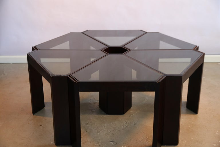 Mid-Century Modern Porada Arredi Stackable Modular Tinted Glass Side Coffee Tables, Set of 6 For Sale