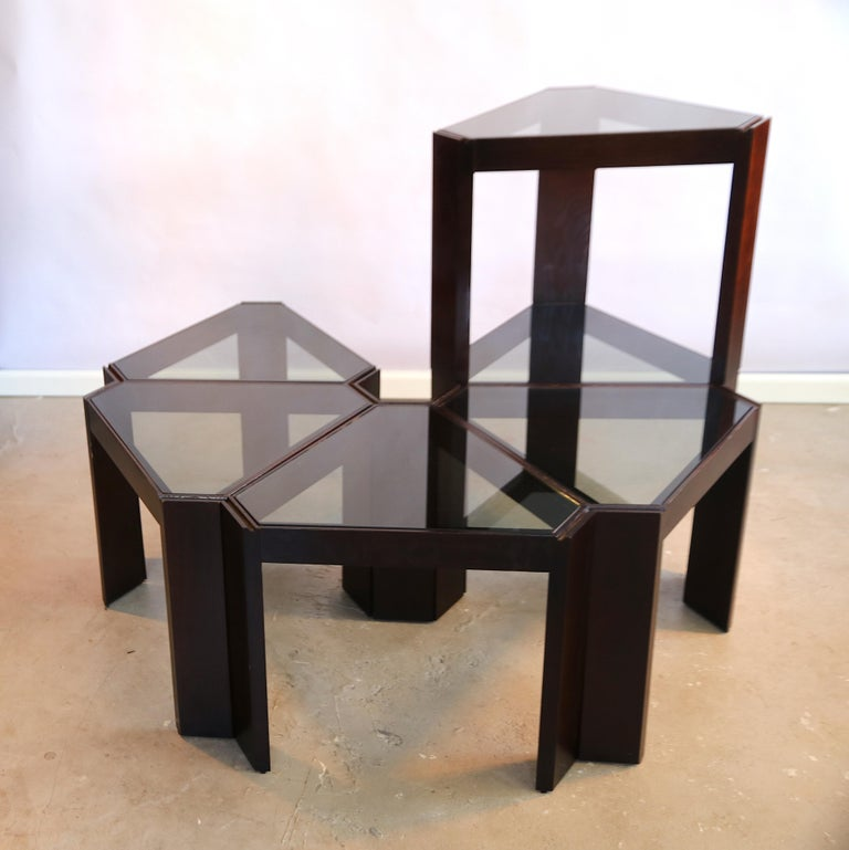 Porada Arredi Stackable Modular Tinted Glass Side Coffee Tables, Set of 6 In Good Condition For Sale In Amsterdam, NL
