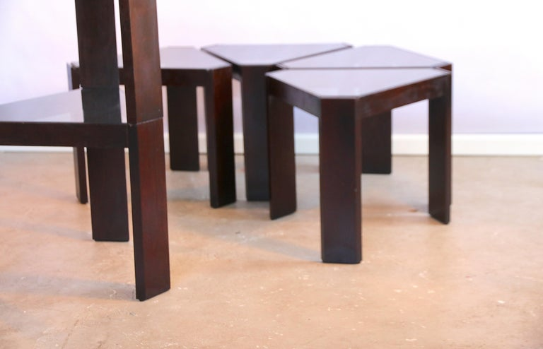 Late 20th Century Porada Arredi Stackable Modular Tinted Glass Side Coffee Tables, Set of 6 For Sale