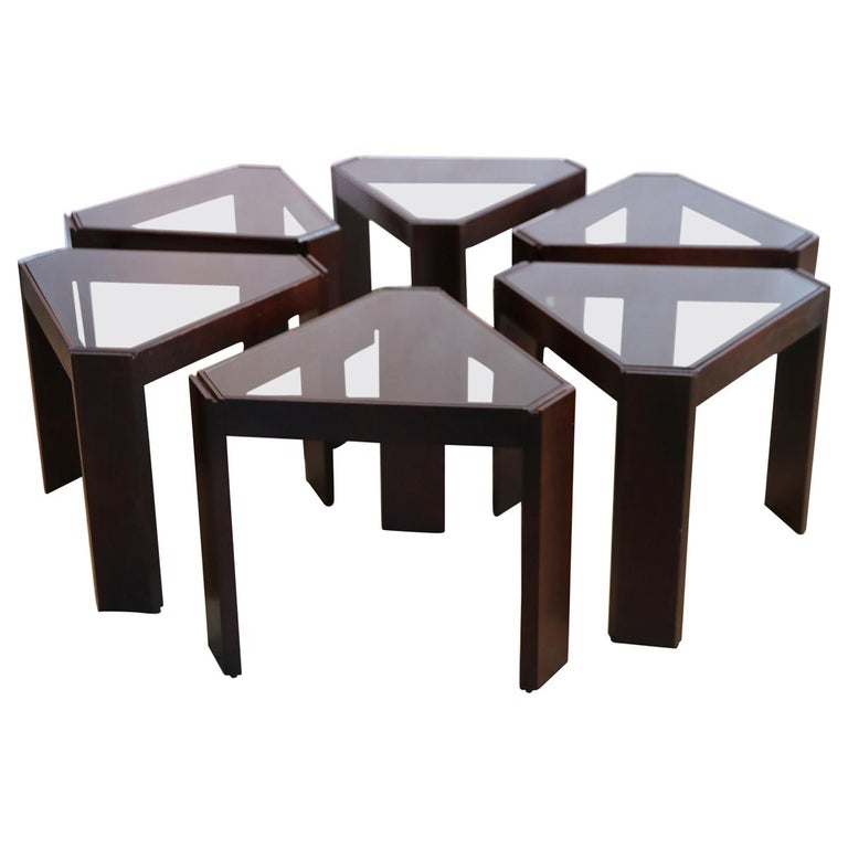 Porada Arredi Stackable Modular Tinted Glass Side Coffee Tables, Set of 6 For Sale