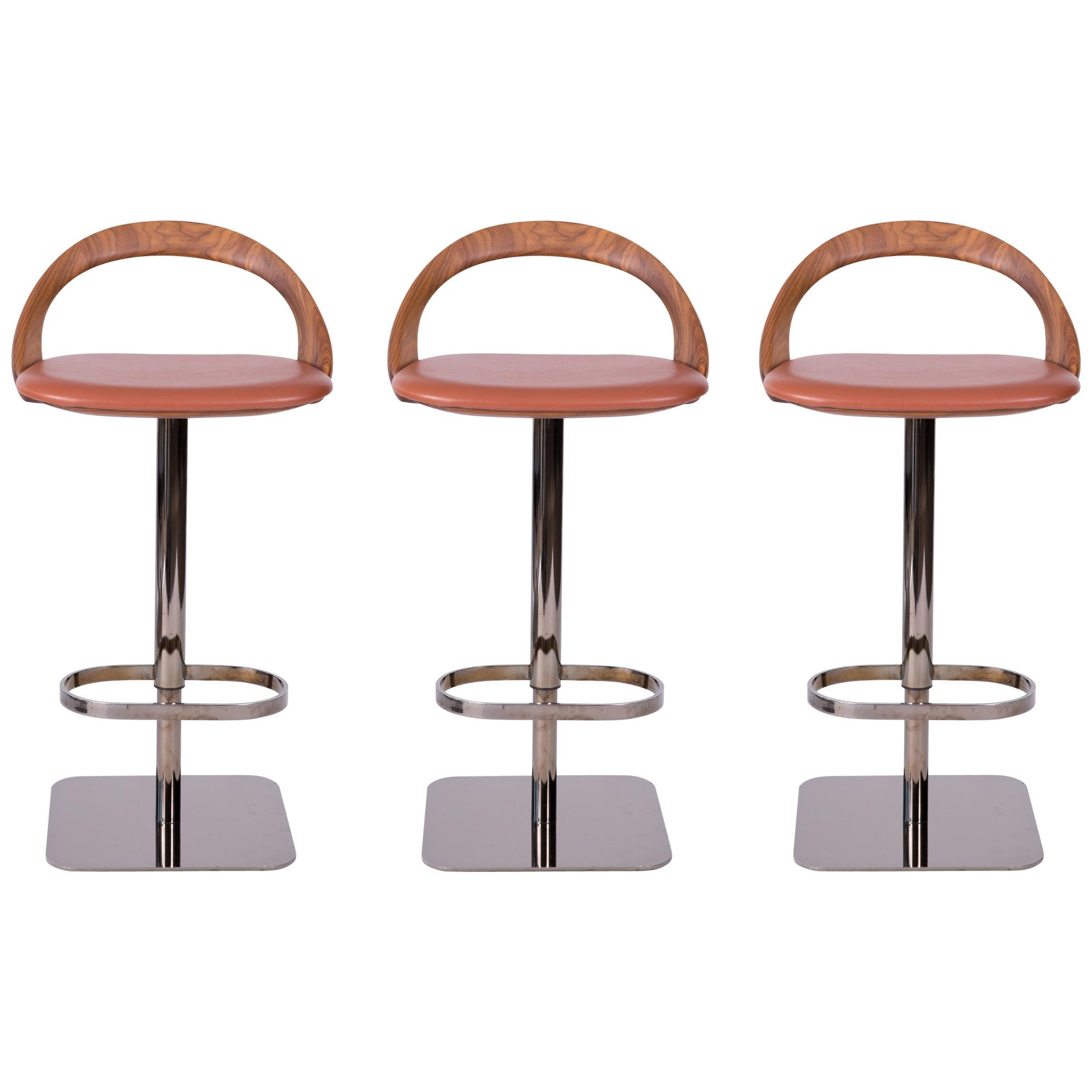 Amazing Gavilan Barstool Nickel With Walnut Details And Chocolate Brown Leather Andrewgaddart Wooden Chair Designs For Living Room Andrewgaddartcom