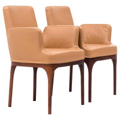 Porada Mid Century Brown Leather Dining Chairs, Set of 2