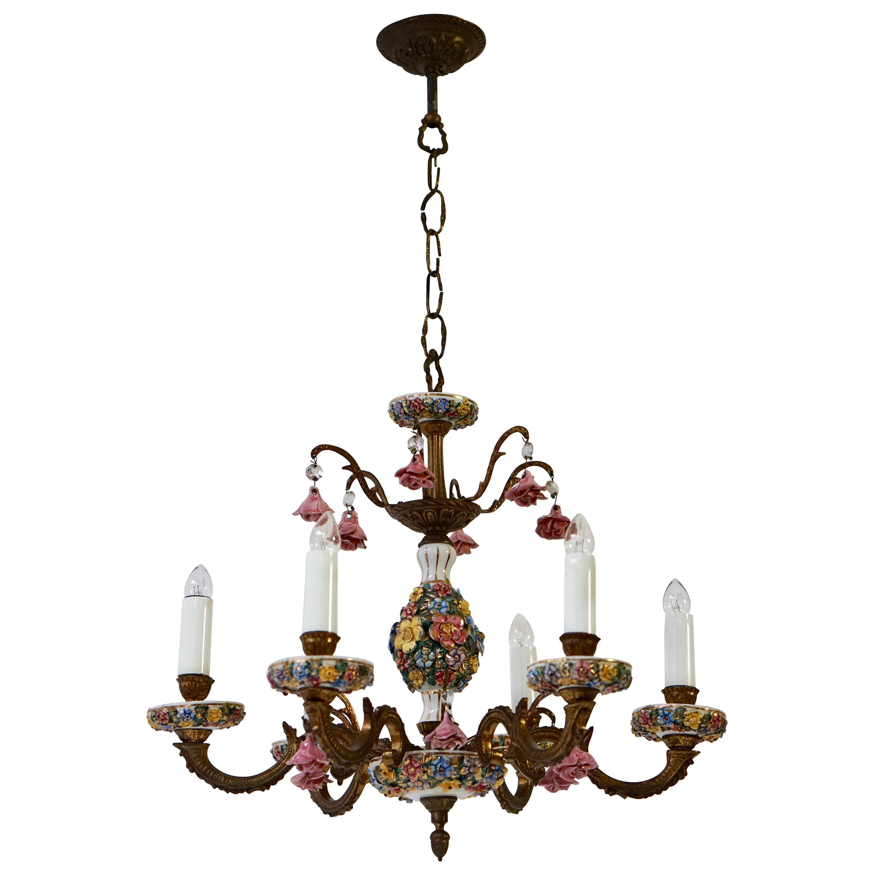 Porcelain and Brass 6-Light Chandelier with Flower Decoration