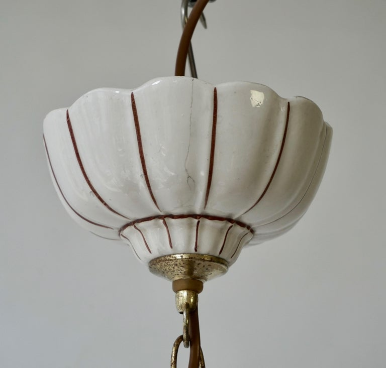 Porcelain and Brass Pendant Light For Sale 5