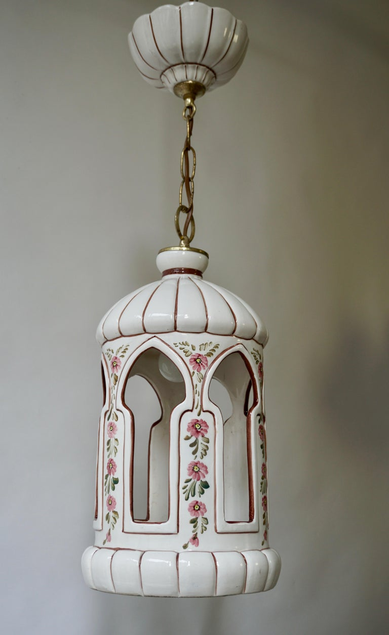 Mid-Century Modern Porcelain and Brass Pendant Light For Sale