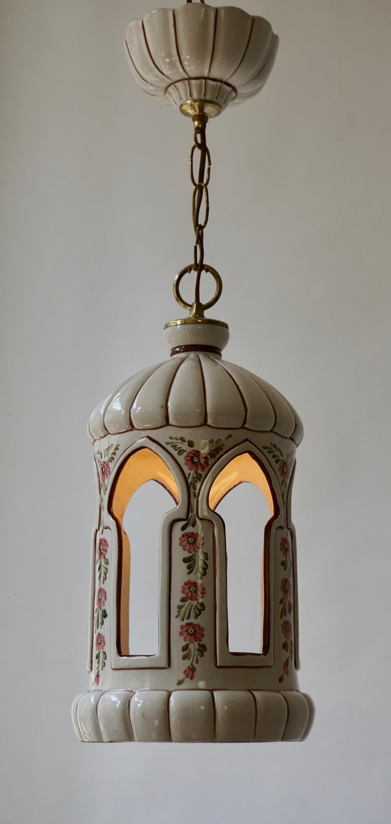 20th Century Porcelain and Brass Pendant Light For Sale