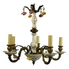 Porcelain and Bronze Five Light Chandelier