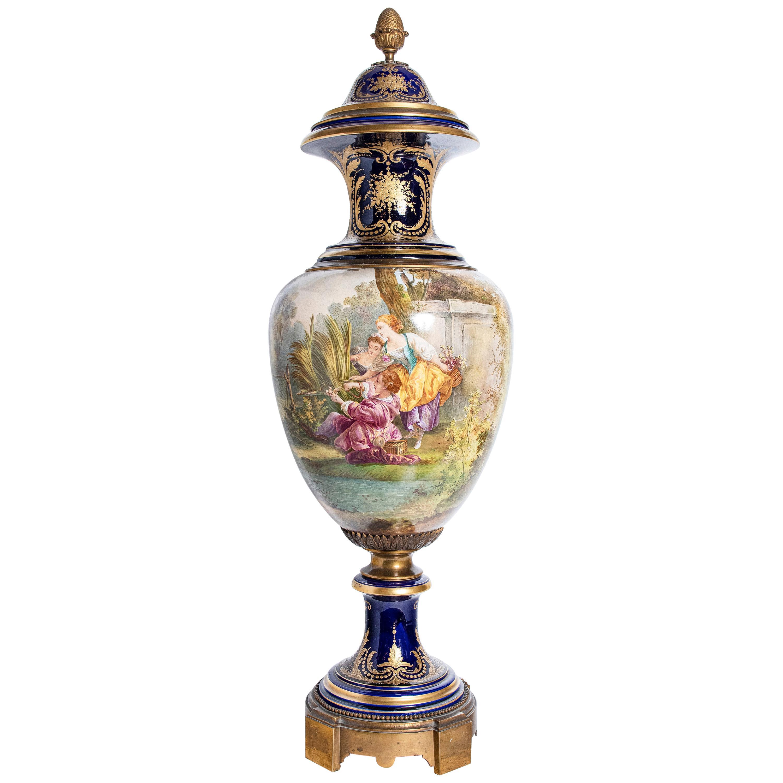 Porcelain and Gilt Bronze Vase Signed Sèvres, Painted by Collot, France