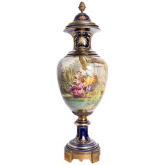 Porcelain and Gilt Bronze Vase Signed Sèvres, Painted by Collot, France
