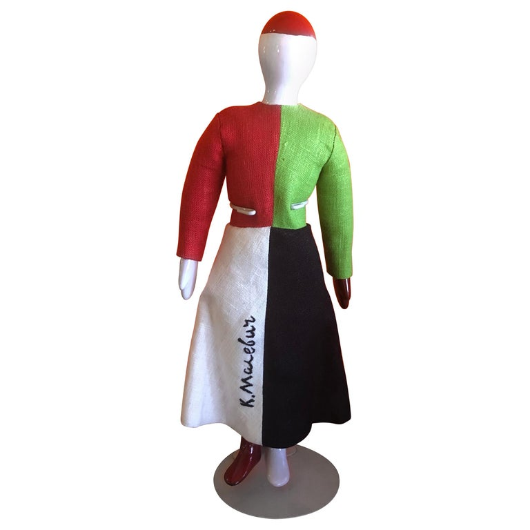 Porcelain and Linen Russian Avante Garde Doll with Stand by Kazimir Malevich For Sale