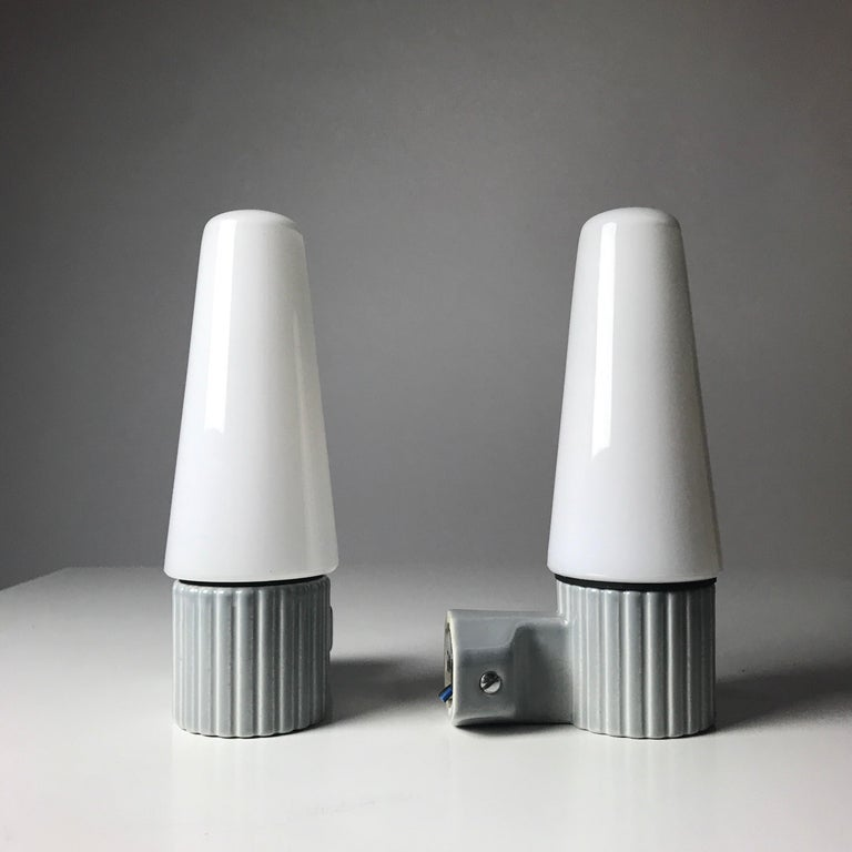 Swedish Porcelain and Opaline Glass Wall Lights by S. Bernadotte for IFÖ, Sweden 1960s For Sale