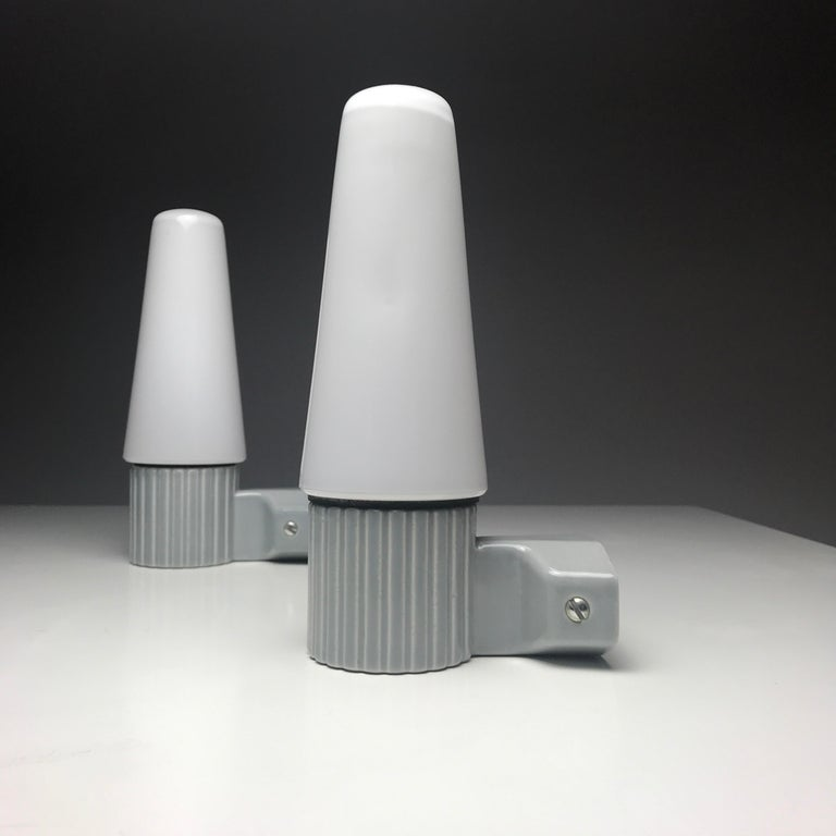 Ceramic Porcelain and Opaline Glass Wall Lights by S. Bernadotte for IFÖ, Sweden 1960s For Sale