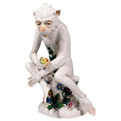 Porcelain Animal Figure 'Monkey With Apple' by J. G. Kirchner, Dresden, ca. 1905