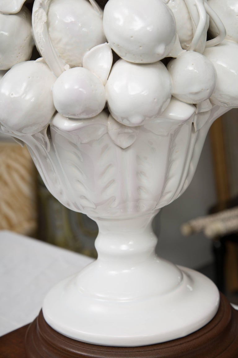 Italian Porcelain Blanc de Chine Lemon Cluster in Urn as Table Lamps For Sale
