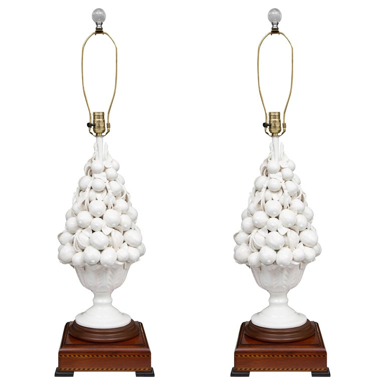 Porcelain Blanc de Chine Lemon Cluster in Urn as Table Lamps For Sale