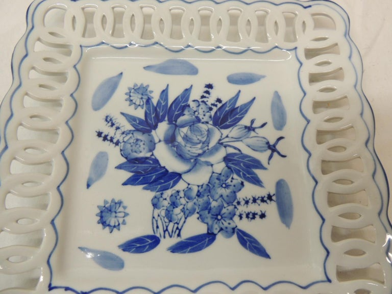Victorian Porcelain Blue and White Floral Dish with Pierced Ribbon Border Edges
