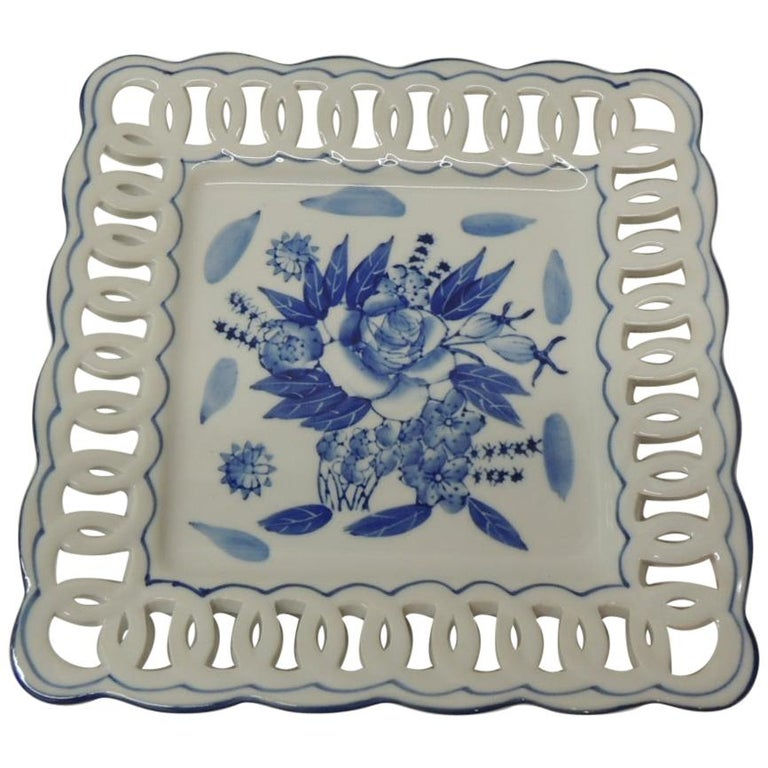Porcelain Blue and White Floral Dish with Pierced Ribbon Border Edges