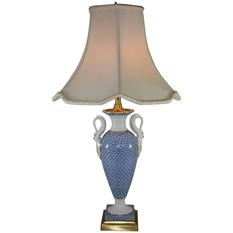 Porcelain Blue And White Fish Scale Table Lamp With Swan Detail