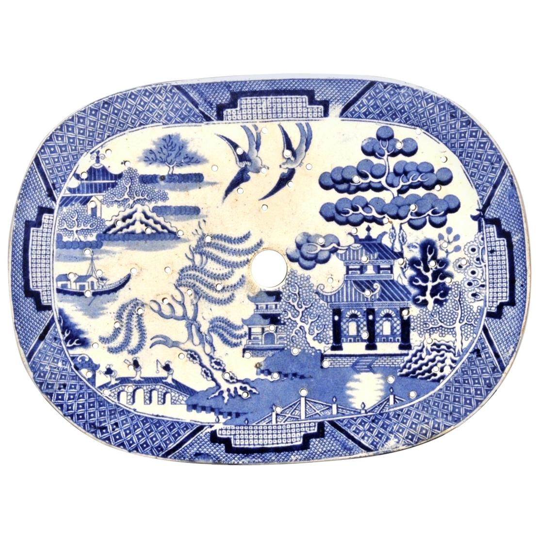 Porcelain Blue and White Vintage Strainer Plate