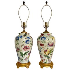 Porcelain Botanical Floral and Gilt Urn Vase Table Lamps by Chelsea House, Pair