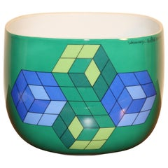 Porcelain Bowl by Rosenthal, Limited Op Art Edition by Victor Vasarely