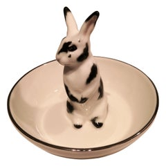 Porcelain Bowl Hand Painted with Rabbit Figure Sofina Boutique Kitzbuehel