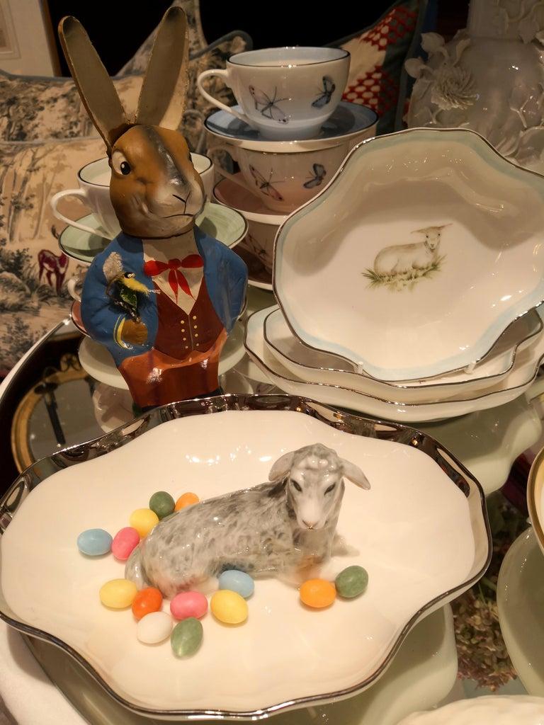 German Hand Painted Porcelain Bowl with Easter Lamb Figure Sofina Boutique Kitzbuehel For Sale