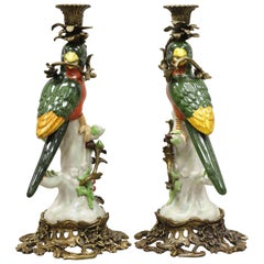 Porcelain & Bronze French Green & Yellow Parrot Candlestick Candleholders, Pair
