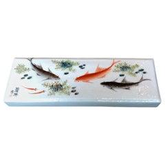 Porcelain Brush Rest with Vivid Fish Images