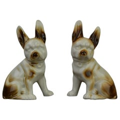 Porcelain Bulldog Shaped Salt and Pepper Shakers, Germany, Mid-20th Century