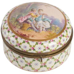 Porcelain Candy Box Decorated with an Elegant Couple