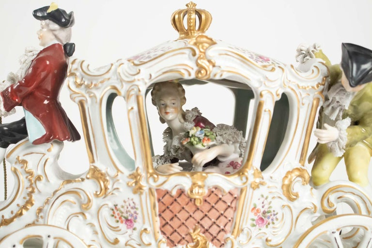 French Porcelain Carriage, Brand below, German Porcelain For Sale