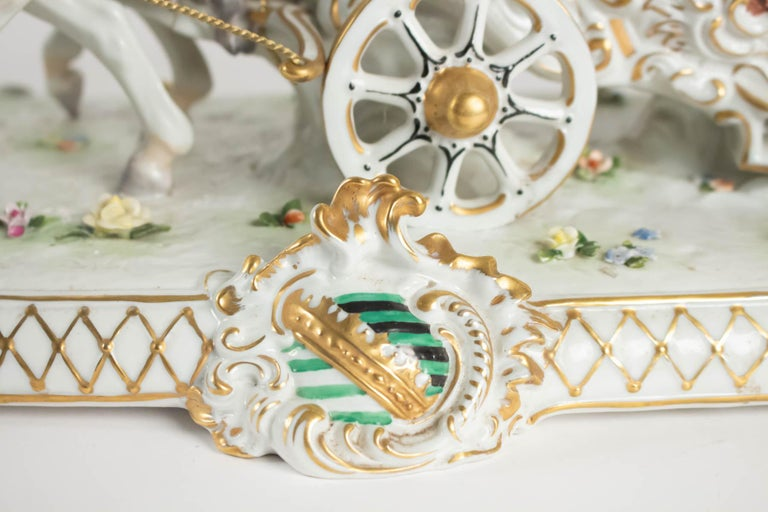 Late 19th Century Porcelain Carriage, Brand below, German Porcelain For Sale