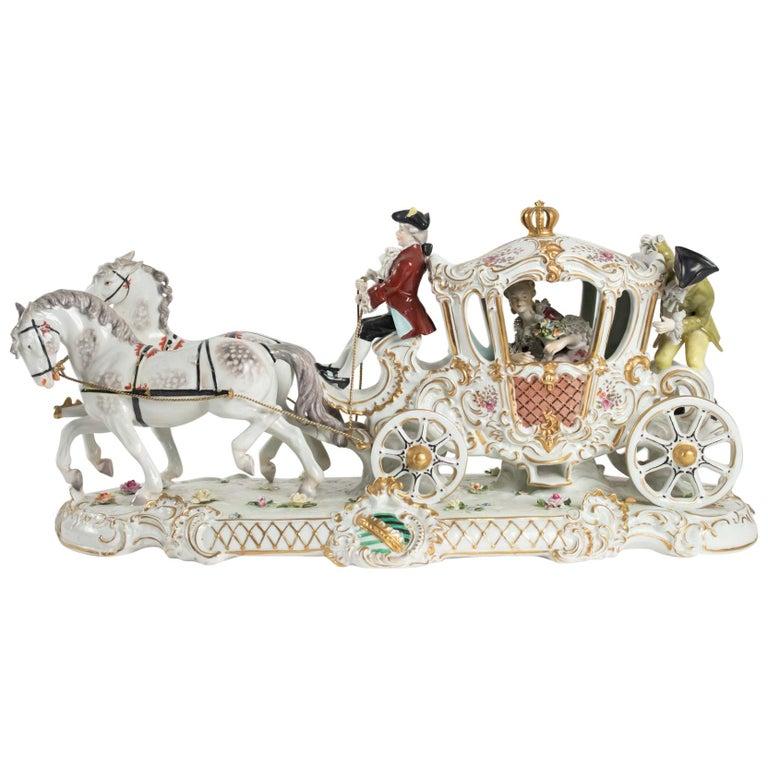 Porcelain Carriage, Brand below, German Porcelain For Sale