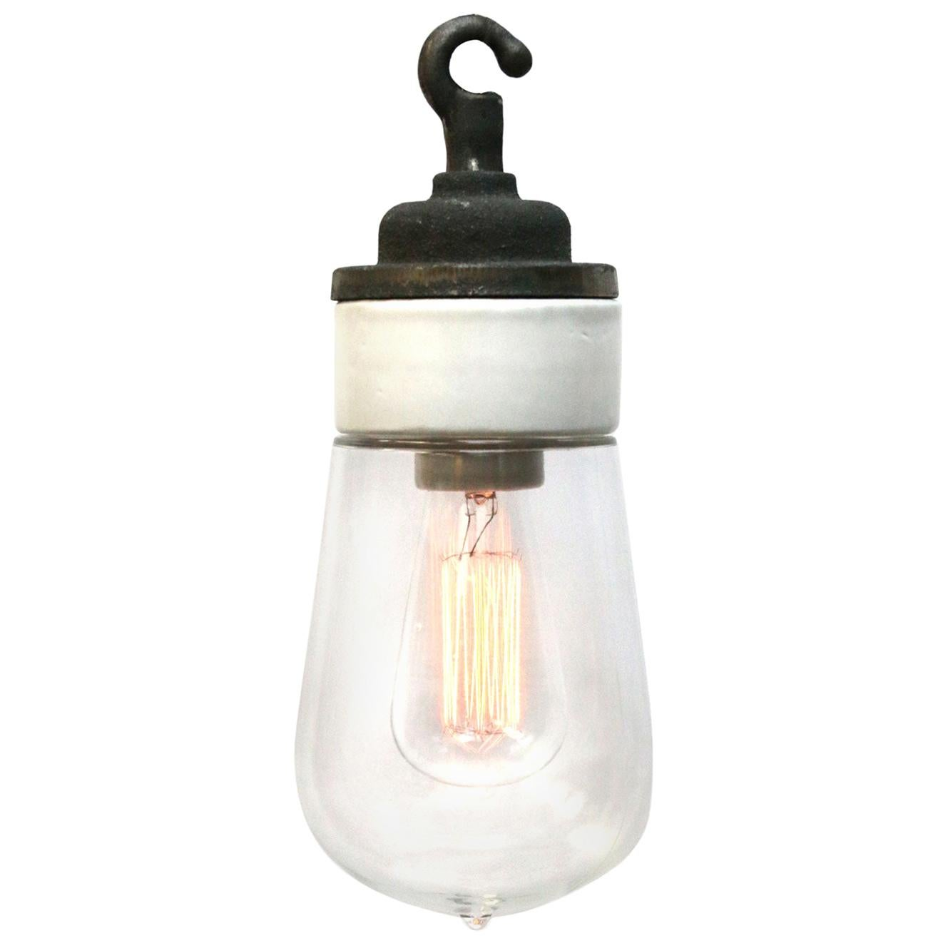 Porcelain Cast Iron Clear Glass Industrial Hanging Lights